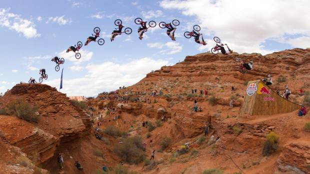 Kelly McGarry completing a backflip during the Red Bull Rampage.
