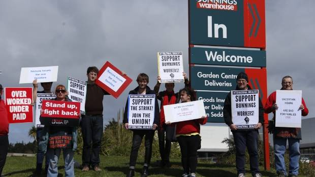 More than 30 staff and supporters joined the action against the hardware giant at Bunnings Porirua, walking off the job ...