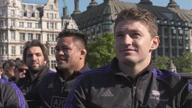 Beauden Barrett enjoys an open top bus tour of London before the All Blacks traveled to Cardiff to face Georgia.