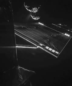 Rosetta selfie with Comet 67P/Churyumov-Garasimenko at 16km.