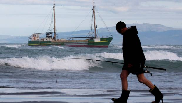 The MV Tuhoe still sits aground on the south side of the Waimakariri River mouth.