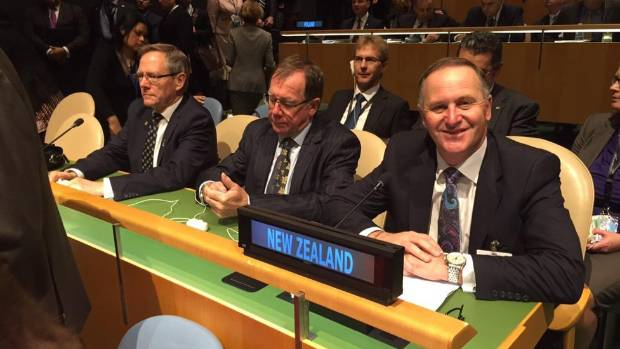 Prime Minister John Key with the New Zealand delegation at the United Nations.