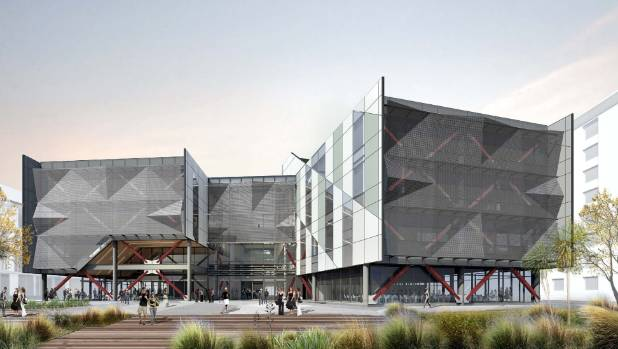 North face of the planned University of Canterbury regional science and innovation centre.