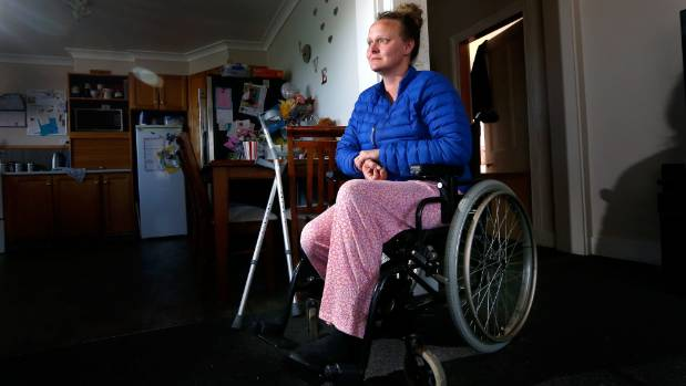 Waimate's Marie McKay is using a borrowed wheelchair because the pain in her legs from an operation three weeks ago is ...