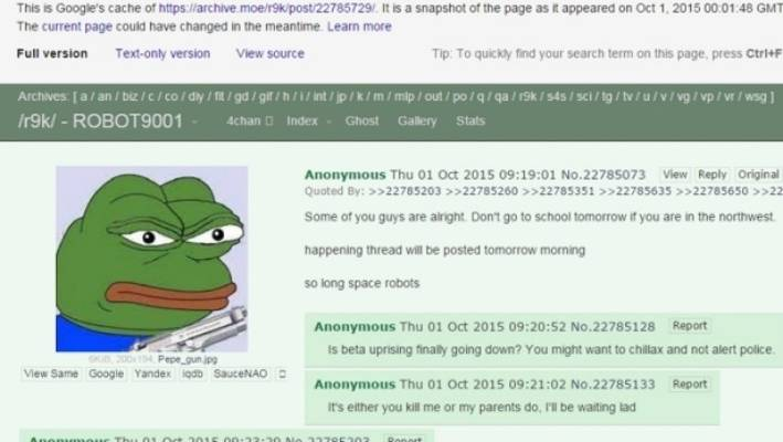 Chilling 4chan message before deadly US shooting | Stuff co nz