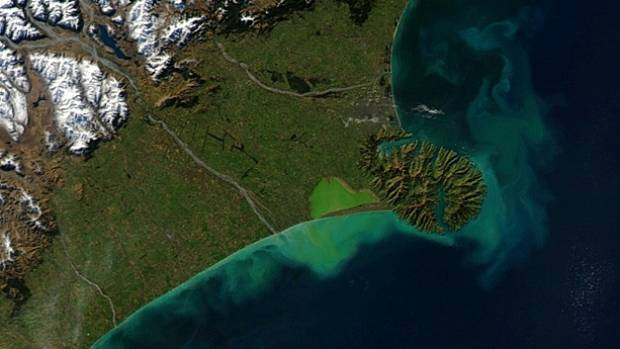 A satellite image of Canterbury from 2012 shows the extent of pollution at Lake Ellesmere.