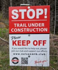 Nelson Mountain Bike Club sign  where members are working on building new tracks at Codgers Mountain Bike Park.