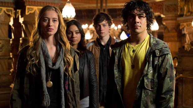 The Terry Teo TV series cast. From right: Kahn West as Terry Teo, Drew Brice Ford as Caleb, Hanna Tevita as Polly, and ...