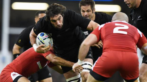 All Blacks lock Sam Whitelock carts the ball up during last year's Rugby World Cup.