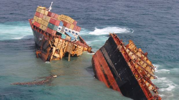The Rena breaks up on Astrolabe Reef. Hundreds of tonnes of heavy fuel oil was spilled.