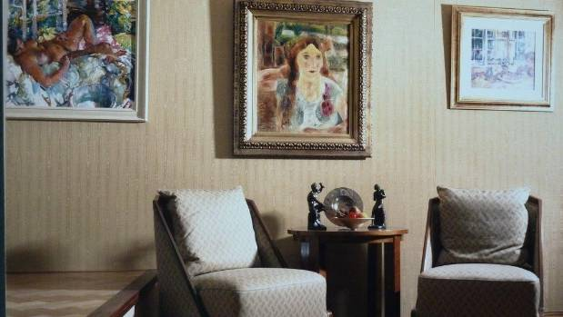 The upper hall of the original Ravenscar House in Sumner with paintings by Evelyn Page and Frances Hodgkins, 1930s ...
