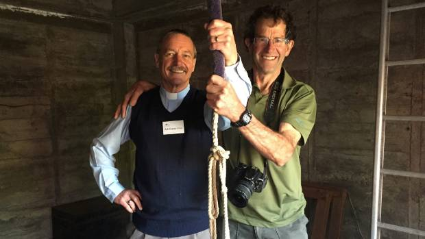Blenheim Nativity Church vicar Bob Barnes, left, and Wairau Lagoon guide Will Parsons, ring the church bell to welcome ...
