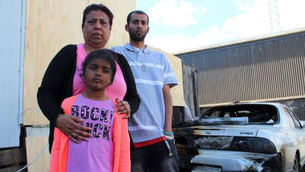 Shakuntala Ram, left, her son Akshay and granddaughter Drishti, 8, have lost everything after their house caught fire.