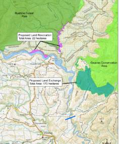 Department of Conservation map showing a 'land-swap' proposed by developers of the Ruataniwha dam. Blue line at the ...