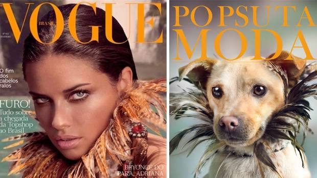 Adriana Lima's iconic Vogue cover has been remastered, with a dog.