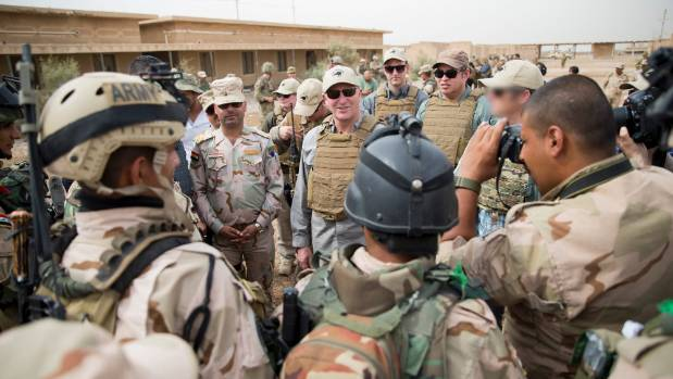New Zealand Prime Minister John Key is pictured during his visit to see Kiwi troops based at Camp Taji in Iraq.