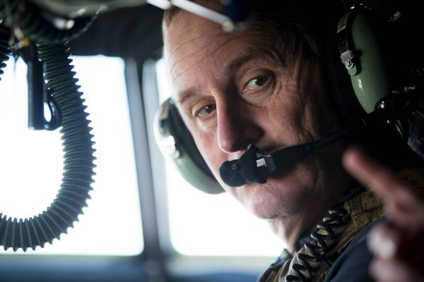 Prime Minister John Key on the NZ Hercules flying from Dubai to Baghdad.