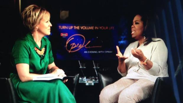 Hilary Barry and Oprah in Los Angeles in October.