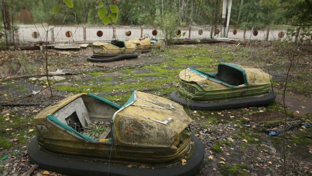 Bumper cars stand in an abandoned amusement park in Pripyat, Ukraine. Pripyat lies only a few kilometres from the former ...