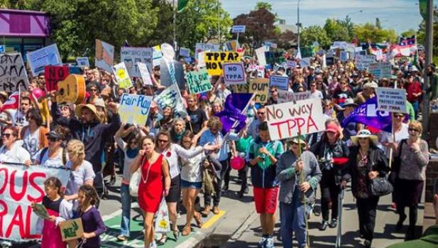 The TPP trade deal has attracted protests up and down the country