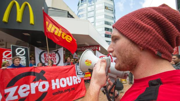 Albie Campbell leads chants as McDonald's workers protest zero hour contracts at a rally earlier this year.