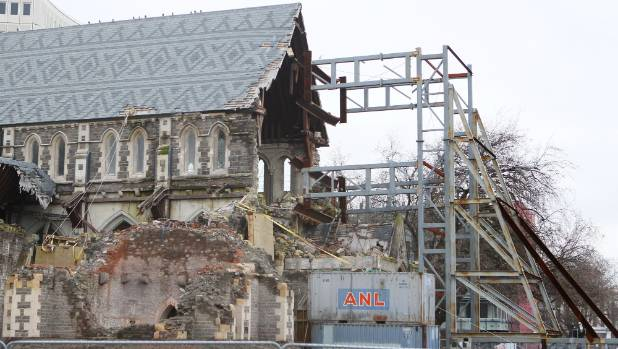 The front of the damaged Christ Church Cathedral remains open to the elements.