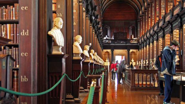 The Long Room at the old Trinity College Library in Dublin was built in 1732.