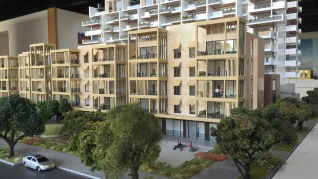 A model of Wynyard Central, the new apartment block being developed in Wynyard Quarter by Willis Bond & Co.