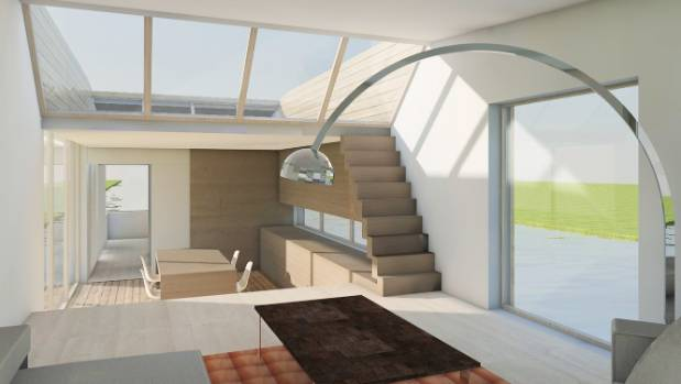 Prototype interiors of the floating homes are just as cool as the exteriors.