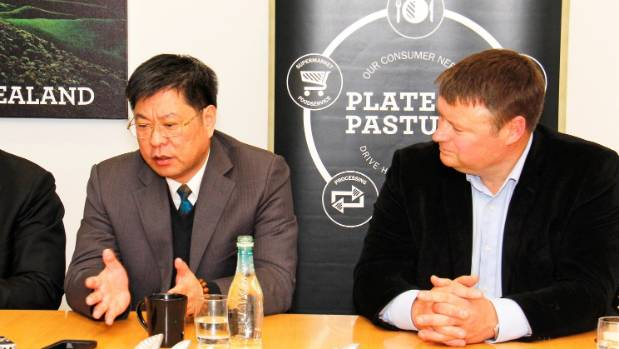Shanghai Maling president Weiping Shen and Silver Fern Farms chairman Rob Hewett at Dunedin on Friday September 25.