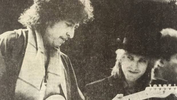 Bob Dylan and Tom Petty trade riffs at Athletic Park, Wellington, February 5, 1986.