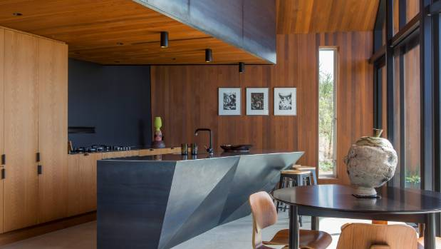 Grand designs sculptural steel house steps outside the for Kitchen ideas new zealand