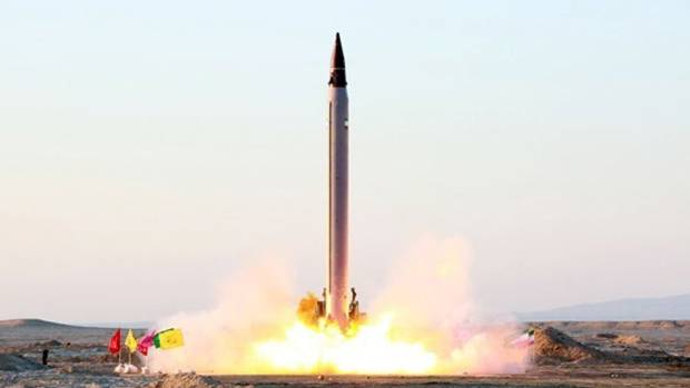An Iranian precision-guided ballistic missile is  tested at an undisclosed location in October 2015.