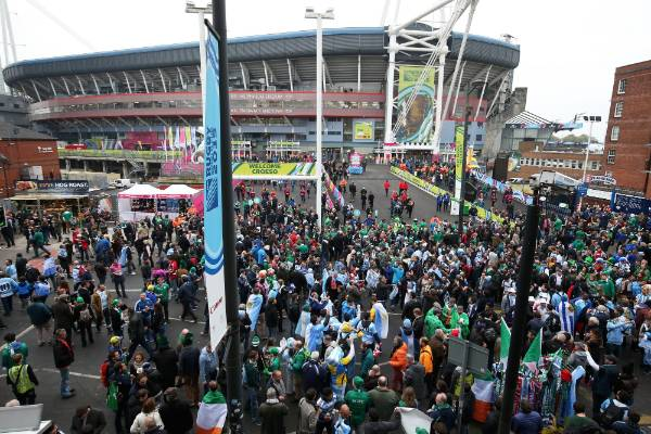 Rugby fans head to Millennium Stadium in Cardiff for the Rugby World Cup quarterfinal between Ireland and Argentina.