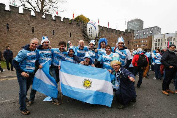 Argentina rugby fans en route to Millennium Stadium for their team's Rugby World Cup quarterfinal against Ireland.