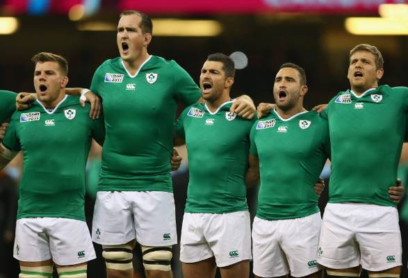 Ireland players sing their national anthem.
