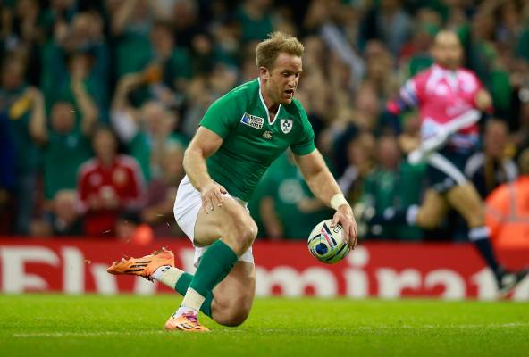 Luke Fitzgerald dots down for Ireland's first try in their Rugby World Cup quarterfinal against Argentina.