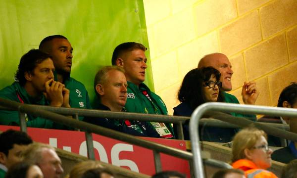 Injured Ireland captain Paul O' Connell (right) looks on from the stand in Cardiff as his team play Argentina in the ...