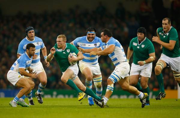 Ireland's Keith Earls on the burst against Argentina in their Rugby World Cup quarterfinal at Millennium Stadium, Cardiff.