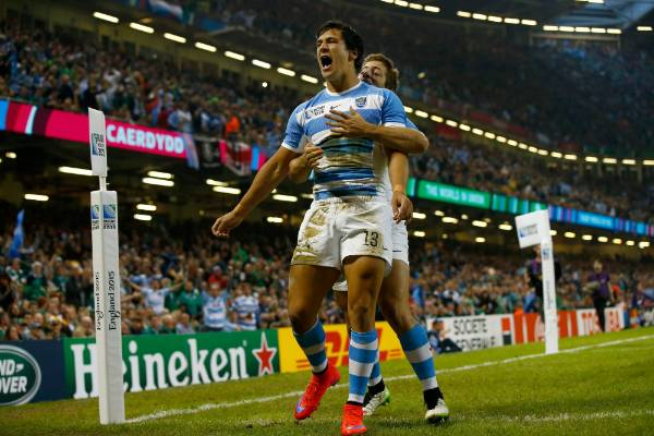 Matias Moroni of Argentina celebrates after scoring the opening try of the Rugby World Cup quarterfinal against Ireland.
