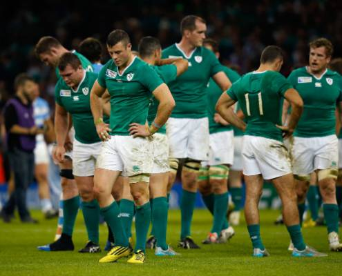 Ireland players contemplate their Rugby World Cup exit after losing to Argentina in the quarterfinals.