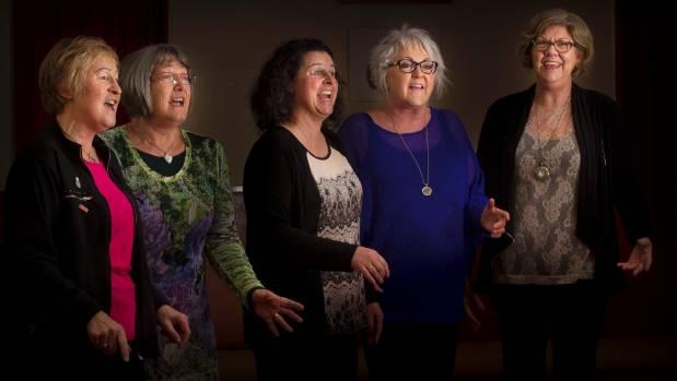 Members of the Manawatu Overtones rehearse. From left, Chris Thompson, Faye Roberts, Sylvia Fountain, Liz Watts, Jenni ...