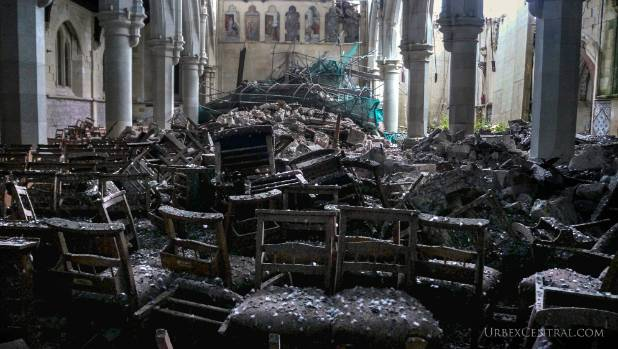 Photos taken by Urbex Central in December 2014 show the interior of the Christ Church Cathedral.