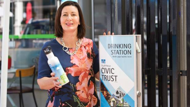 Nelson Mayor Rachel Reese filled her water bottle at a drinking station near Nelson Provincial Museum on Trafalgar St.