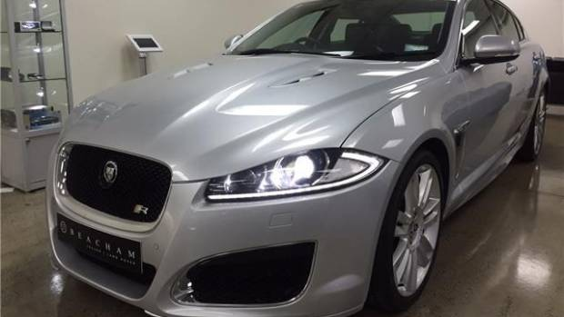 With the right equipment, any car can be stolen, as was seen with this Jaguar XFR at an Auckland dealership.