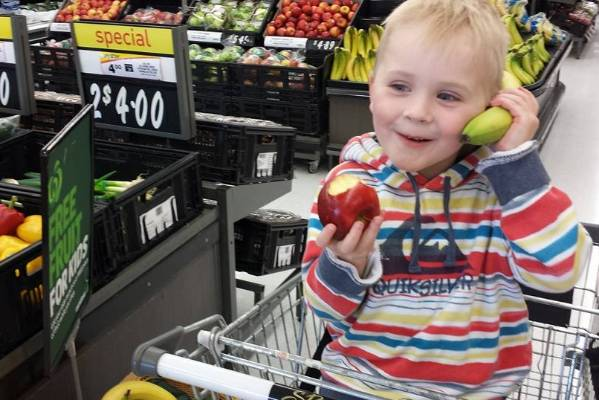 Lisa Callaghan's son decided to have a bit of fun with the fruit during their shop.