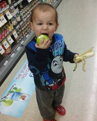 Ashleigh Anne said the free fruit stopped her son biting open packets of food and making a mess in the supermarket.