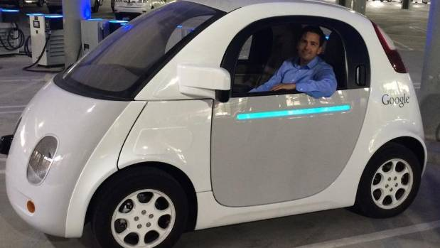 Transport Minister Simon Bridges tests a driverless car at Google X in Mountain View, California.