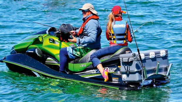 Kawasakis on the kaipara for Jet ski fishing setup
