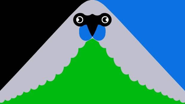Oscar Thomas'  'Green Peak' flag represents today's New Zealand, featuring the native Kokako.